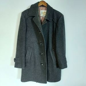 London Fog Gray Wool Pea Coat Classic Vintage Quilted Lining Sz 42 R